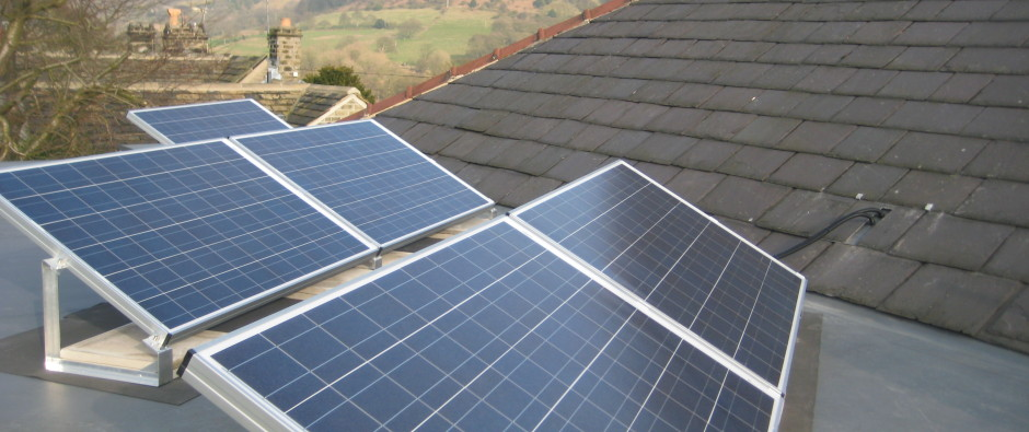 solar panels installed on flat roof in Yorkshire